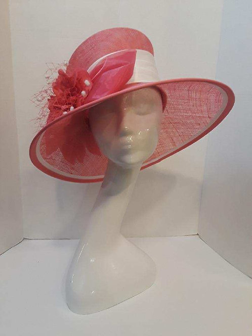 Pink and White Straw with Angled Brim