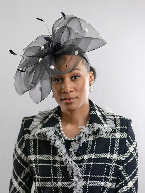 Black & Pearl Fascinator
