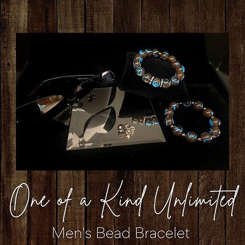 Men's Bead Bracelet   Chocolate & Aqua