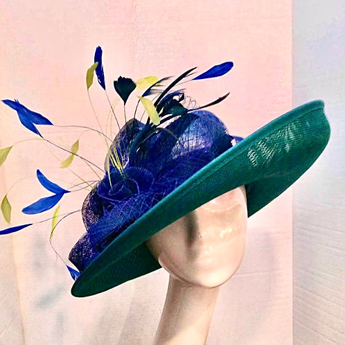 Royal Blue and Turquoise Turn Up Brim w/feathers