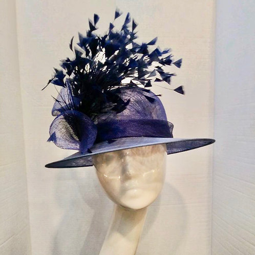 Navy Angled Feather Accented Cloche