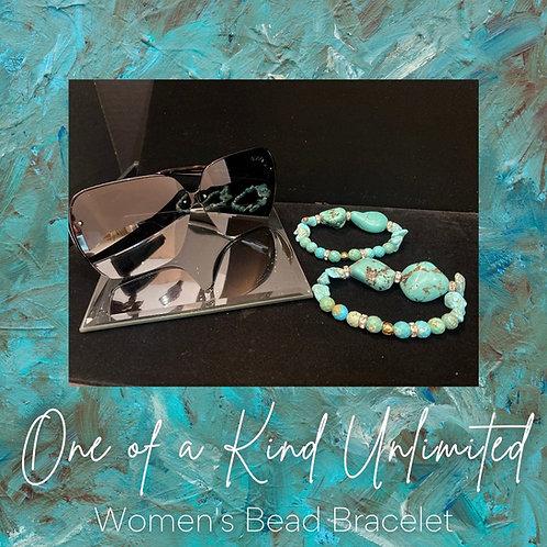 Women's Bead Bracelet   Teal & Gold