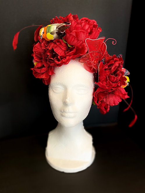 """The """"Gabrielle"""" Cherry Red Floral Headband"""