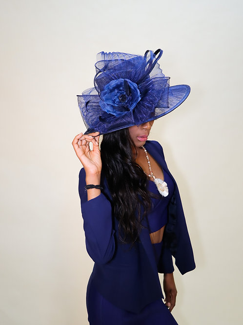 Indigo Blue Sinamay Brim with Bow