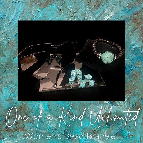 Women's Bead Bracelet   Teal & Black