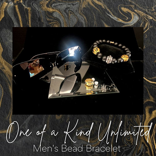 Men's Bead Bracelet   Gold & Black