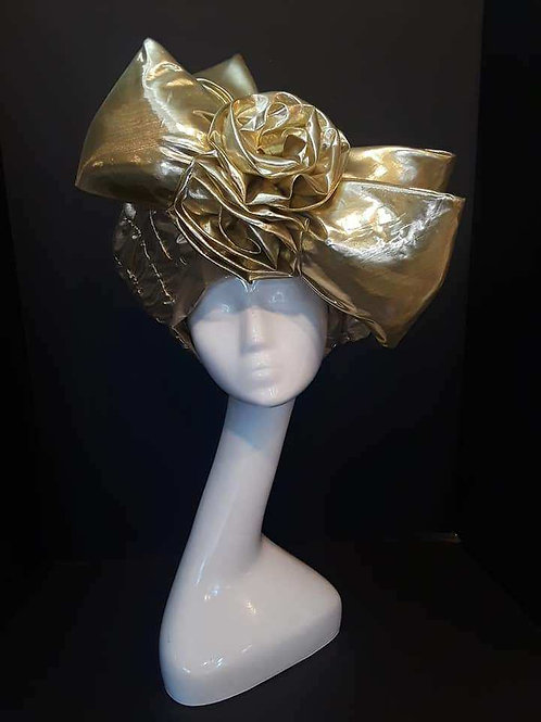 Gold Lame Beret with Oversized Bow