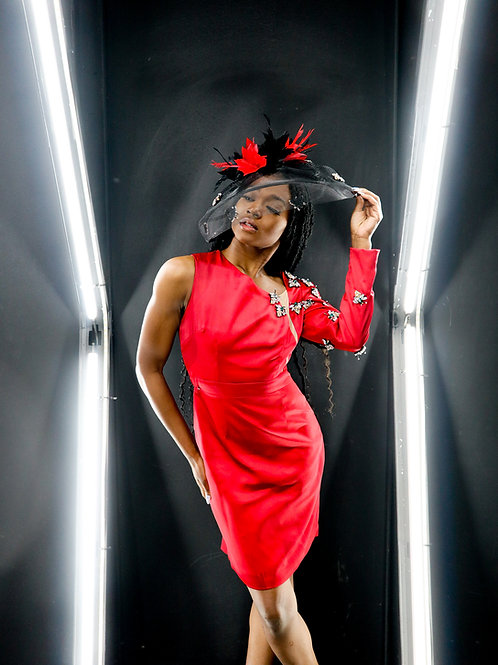 The Black & Crimson 'Renaissance' Fascinator