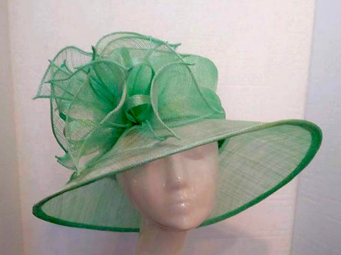 Mint Grey Sinamay with Double Layer Bow Center