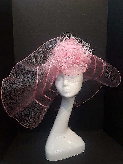 Pink Horsehair Flop Brim