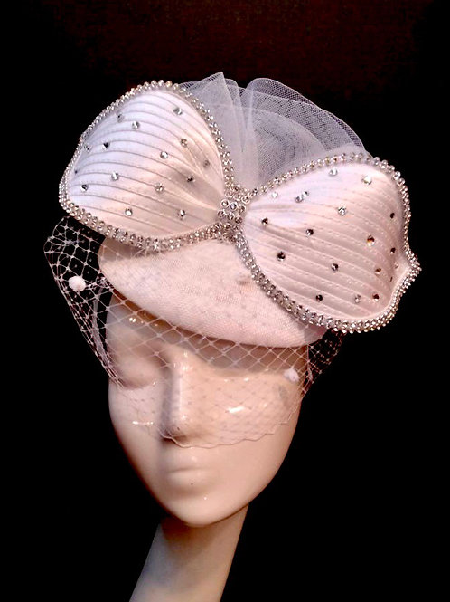 Pure White Bejeweled Fascinator w/ Veil