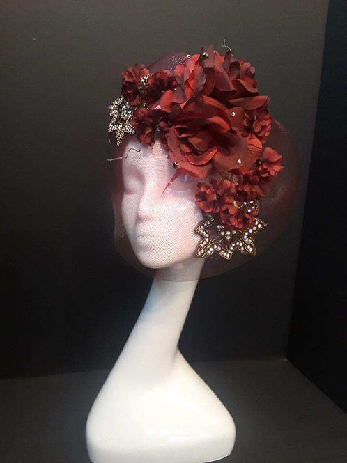 Wine Horsehair Fascinator