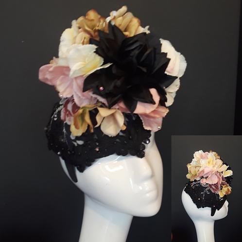Black Floral Fascinator