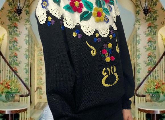 Outrageous 1980s Floral Knit