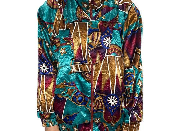 Colourful 90s unisex silk look windbreaker