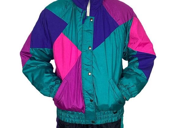 90's Pro Sports Jacket by Fera in teal purple & pink.