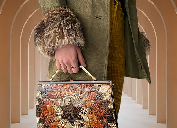 True Vintage Leather Snakeskin Clutch from the 1960s
