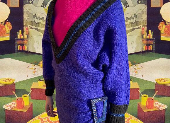 Electric Blue Oversize V-Neck Knit