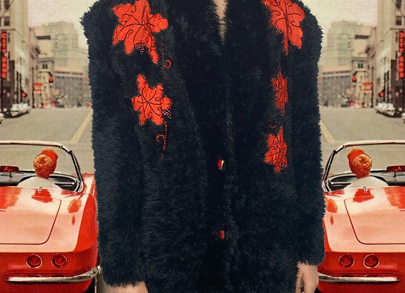 1980's Black 'Funky Fur' Cardigan