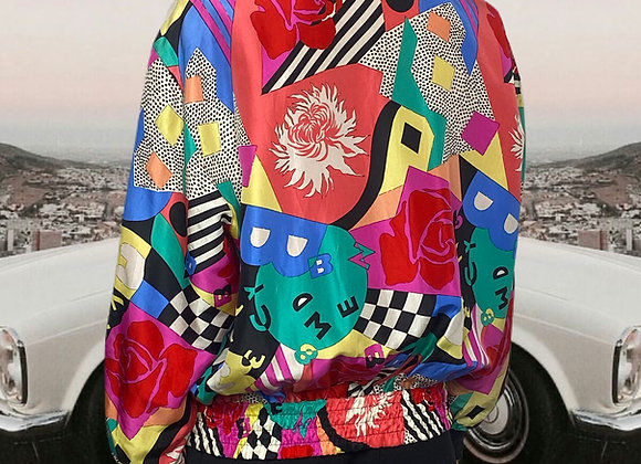 Abstracted Silk Bomber Jacket