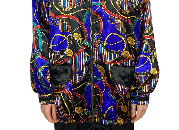 1990's Blue x Gold Chain Silk Look Bomber Jacket