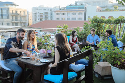 13. guests on roof top