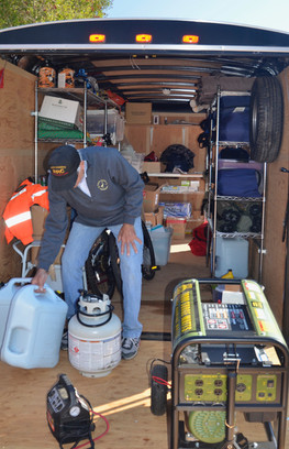 Inside view of an emergency supply trailer