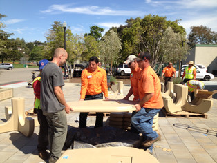 CM Public Works Crew assembling 'indestructible' tables & benches
