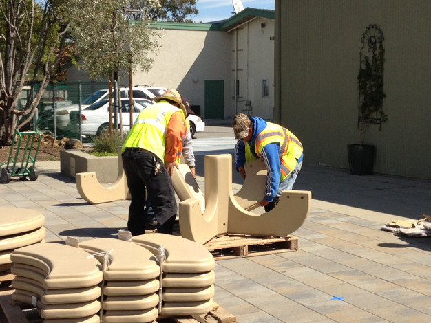 CM Public Works Crew assembling weather-worthy concrete seating