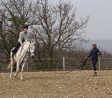 Cavalière débutante sur cheval longé