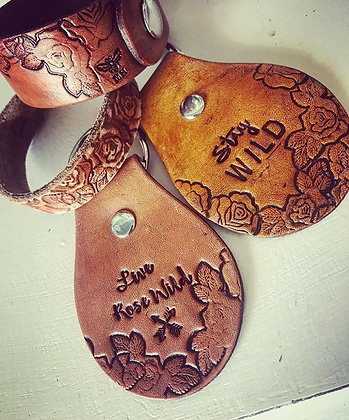 'Rose Wild' Hand-tooled Leather Keychains