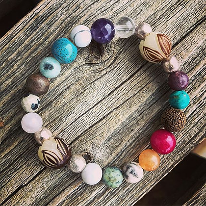 'Lotus' Gemstone Stretch Bracelet