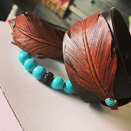 'Wild Feather' Leather Cuff - WIDE