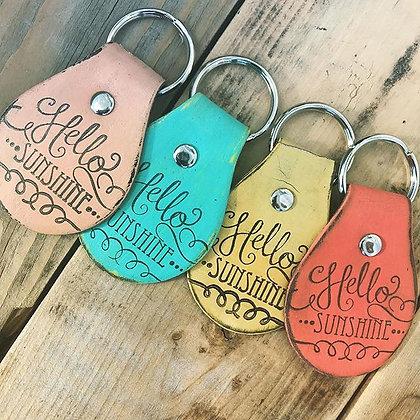 'Hello Sunshine' Leather Keychain