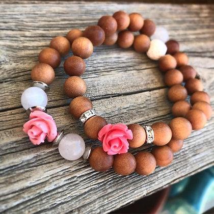 'Rose Wild' Sandalwood Stretch Bracelet