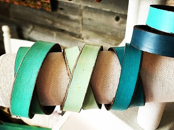 'Painted' Leather Cuff ~ Double Wrap