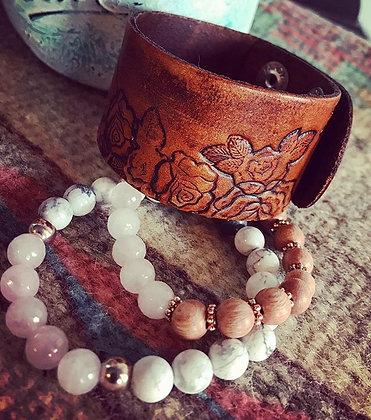'Rose Wild' Wide Leather Cuff
