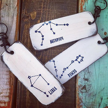 'Zodiac Constellation' Leather Key Chain