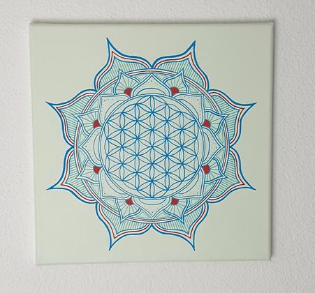 - Mandala Fleur de Vie bleu/vert- 40x40cm