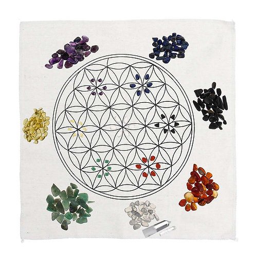 Crystal Healing Grids Kit Altar Cloth Chakra Reiki Gemstones Included
