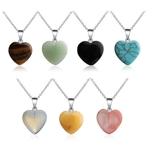 1PC New Handmade Natural Quartz Heart Shaped Crystal Neclace
