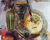 Percussion adds the beat and keeps the rhythm in time, Here are drawings of Doumbek, Conga, Djembe, and other latin-Afro Percussion instruments