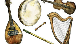 A group of celtic instruments bodhran, celtic harp, Irish fiddle, bowl back mandolin, penny whistle, Irish flute