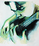 Focus, concentration, repeat over and over again, keys to mastery, a guitar student Mastering his lesson