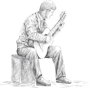 Classical Guitar Player and Showing the correct playing position for Classical Style Guitar
