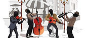 Dixieland - New Orleans Band with a guitar and violin