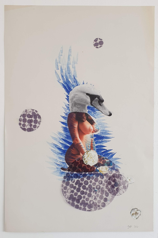 """""""Bird Goddess - Swan"""" Collage 2016"""