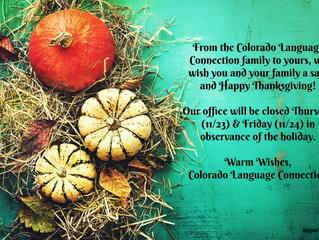 Happy Thanksgiving from Colorado Language Connection!