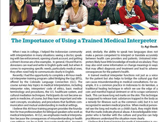 The importance of using a trained medical interpreter - published by Asian Avenue Magazine Aug 2017