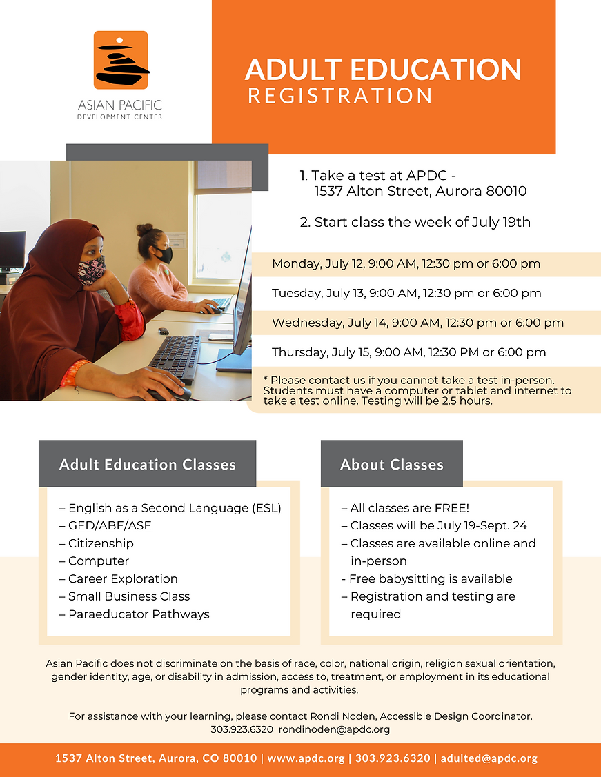 Adult Education Registration, July 2021.